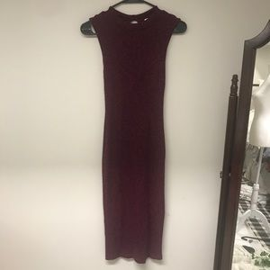 Magenta and Maroon Fitted Long Dress Size S